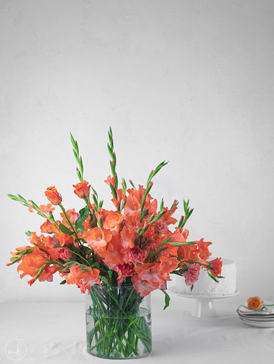 Diy Tropical Orange Gladioli Flower Arrangement Myhoogah