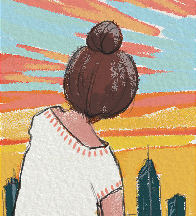 Illustration- girl watching sunrise/ sunset from a terrace