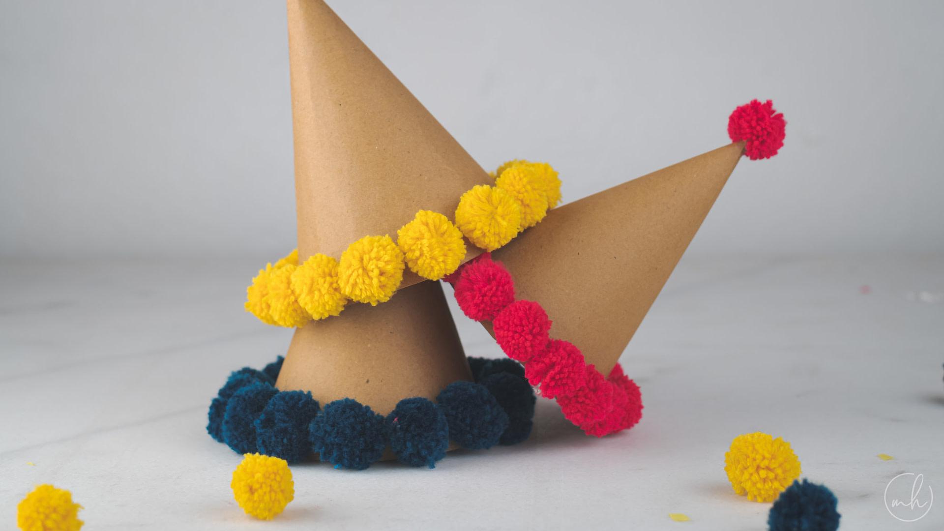 DIY: Yarn Pom Pom Party Hat | Myhoogah